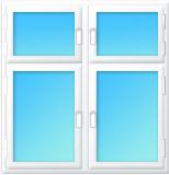 Plastové okno čtyřdílné sloupek 2000x1400/650 bílá/bílá | levé, pravé výklopné, sklopné, sklopné | dvojsklo, klika bílá