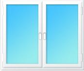 Plastové okno dvojdílné 1580x1500 bílá/bílá | levé výklopné, pravé výklopné | dvojsklo, klika bílá