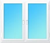 Plastové okno dvojdílné sloupek 2000x1350 bílá/bílá | levé, pravé výklopné | dvojsklo, klika bílá