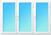Plastové okno trojdílné pravý sloupek 2300x1500 mahagon/mahagon | levé, pravé, pravé výklopné | dvojsklo, klika zlatá